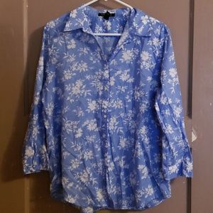 Blueand with 3/4 sleeve button down top